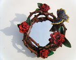 Red Rose Wreath Mirror (with Mourning Cloak Butterfly)